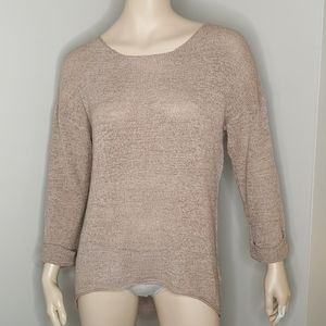 Divided Hi-Lo Round Neck Slouchy Tunic Sweater
